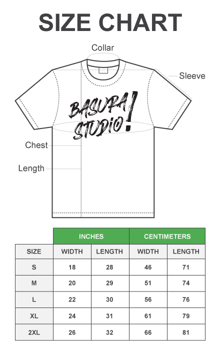Basura Studio Shirt Dimensions