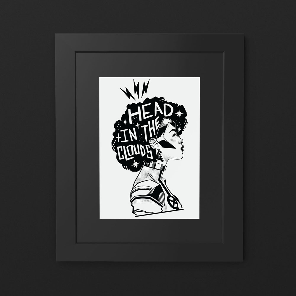 Head in the Clouds print in black frame